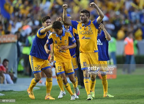 Maxico's Tigres AndrePierre Gignac celebrates his goal against Brazil's Internacional during their Copa Libertadores semifinal football match at the...