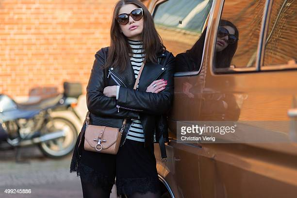 Maxilie Mlinarskij is wearing Proenza Schouler leather jacket Givenchy bag Topshop sweater Boohoo shorts Celine sunglasses on November 27 2015 in...