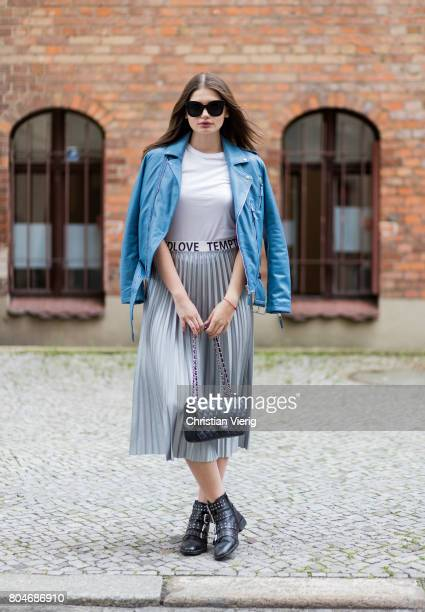 Maxilie Mlinarskij wearing a silver midi skirt Mango, a white tshirt H&M, a blue leather jacket Be Edgy, black Topshop boots, black Chanel bag, Zero...