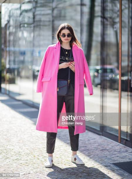 Maxilie Mlinarskij wearing pink coat Missy Empire black HM vinyl leather pants Gucci tshirt Louis Vuitton bag Gucci sneaker Ray Ban sunglasses is...