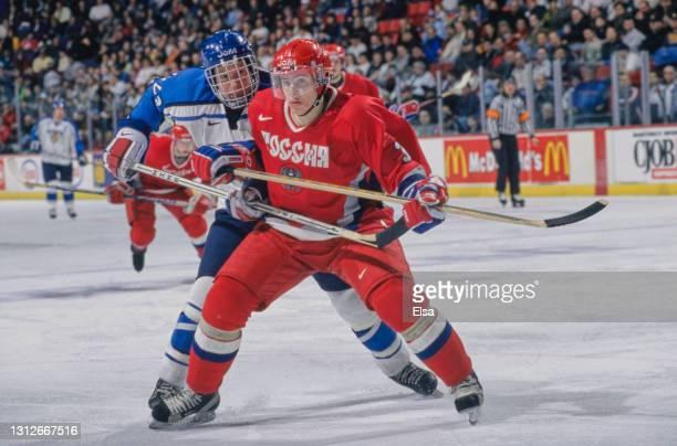 Maxim Afinogenov, Forward for Russia during the 1999 International Ice Hockey Federation World Junior Ice Hockey Championship Quarter Final match...