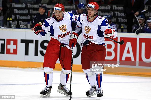 Maxim Afinogenov of Russia celebrates after he scores his team's opening goal during the IIHF World Championship group A match between Slovakia and...