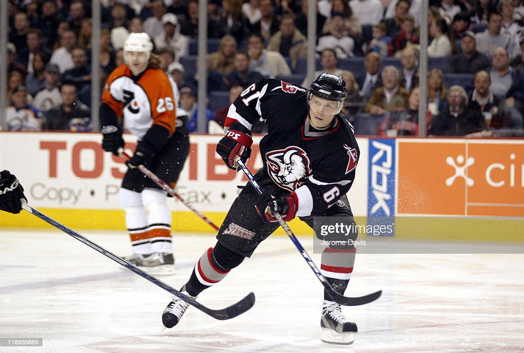 Maxim Afinogenov of the Buffalo Sabres during game two playoffs action versus the Philadelphia Flyers at the HSBC Arena in Buffalo, NY, April 24, 2006. Buffalo defeated Philadelphia 8 -2 .