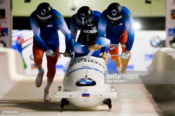Maxim Andrianov Yury Selikhov Ruslan Samitov and Mikhail Mordasov of Russia compete in the 4man Bobsleigh during the BMW IBSF Bobsleigh and Skeleton...
