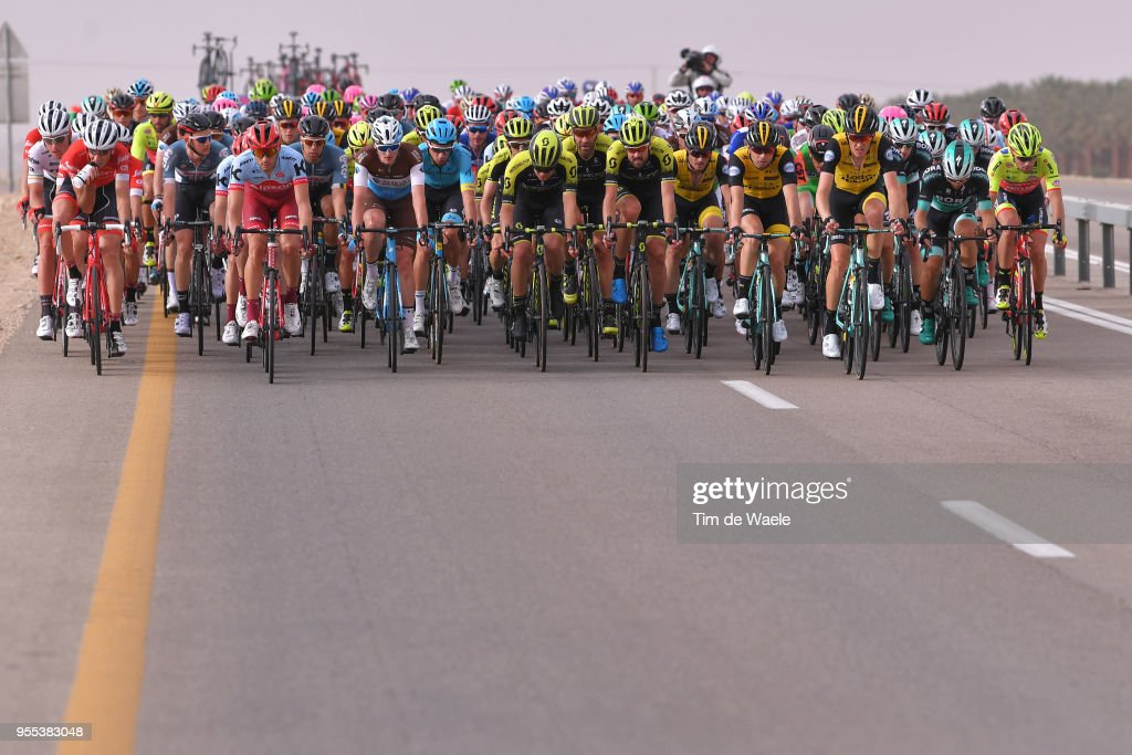 Maxim Belkov of Rusia and Team Katusha-Alpecin / Nico Denz of Germany and Team AG2R La Mondiale / Sam Bewley of New Zealand and Team Mitchelton-Scott / Peloton / during the 101th Tour of Italy 2018, Stage 3 a 229km stage from Be'er Sheva to Eilat / Giro d'Italia / on May 6, 2018 in Eilat, Israel.