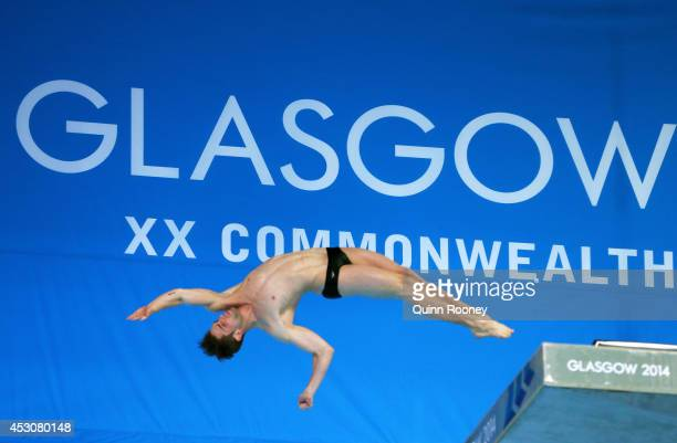 Maxim Bouchard of Canada competes in the Men's 10m Platform Final at Royal Commonwealth Pool during day ten of the Glasgow 2014 Commonwealth Games on...