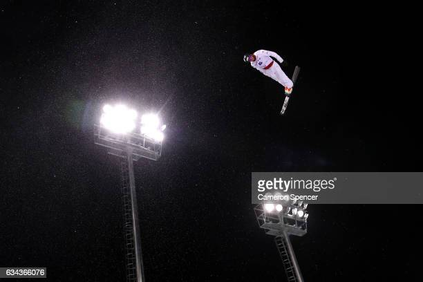 Maxim Burov of Russia performs an aerial during Aerials training prior to the FIS Freestyle World Cup at Bokwang Snow Park on February 9 2017 in...