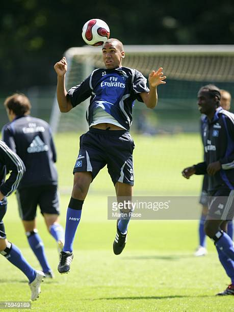 Maxim Choupo Moting jumps to head for the ball during a training session of Hamburger SV at the HSH Nordbank Arena Hamburg on August 03 2007 in...