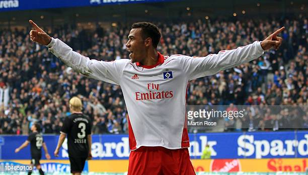 Maxim Choupo Moting of Hamburg celebrates after he scores his team' s 2nd goal during the Bundesliga match between Hamburger SV and 1. FC...