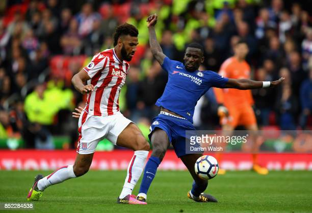 Maxim ChoupoMoting of Stoke City and Antonio Rudiger of Chelsea compete for the ball during the Premier League match between Stoke City and Chelsea...