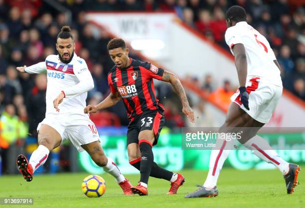 Maxim ChoupoMoting of Stoke City and Jordon Ibe of AFC Bournemouth battle for the ball during the Premier League match between AFC Bournemouth and...