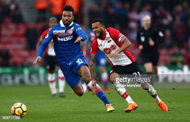 Maxim ChoupoMoting of Stoke City and Ryan Bertrand of Southampton battle for the ball during the Premier League match between Southampton and Stoke...