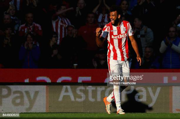 Maxim Choupo-Moting of Stoke City celebrates after he scores his sides first goal during the Premier League match between Stoke City and Manchester...