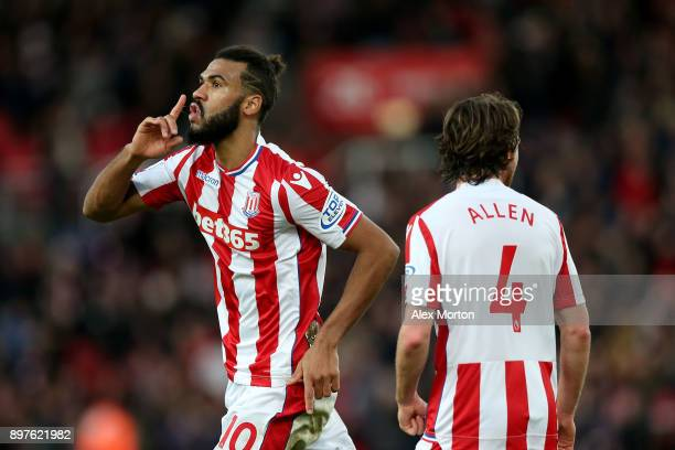 Maxim Choupo-Moting of Stoke City celebrates after scoring his sides second goal during the Premier League match between Stoke City and West Bromwich...