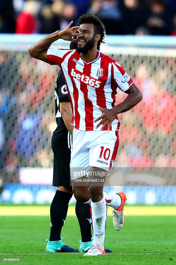 Maxim Choupo-Moting of Stoke City celebrates scoring the opening goal during the Premier League match between Stoke City and Manchester United at Bet365 Stadium on September 9, 2017 in Stoke on Trent, England.