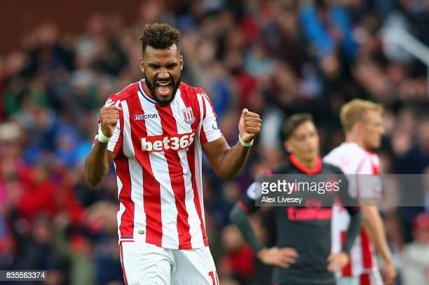 Maxim ChoupoMoting of Stoke City celebrates victory after the Premier League match between Stoke City and Arsenal at Bet365 Stadium on August 19 2017...
