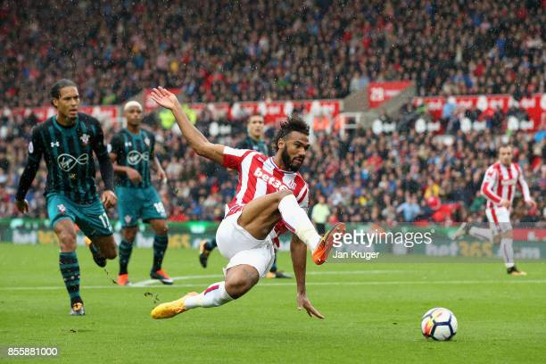 Maxim ChoupoMoting of Stoke City dives for the ball during the Premier League match between Stoke City and Southampton at Bet365 Stadium on September...