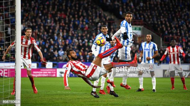 Maxim ChoupoMoting of Stoke City over head kicks during the Premier League match between Huddersfield Town and Stoke City at John Smith's Stadium on...