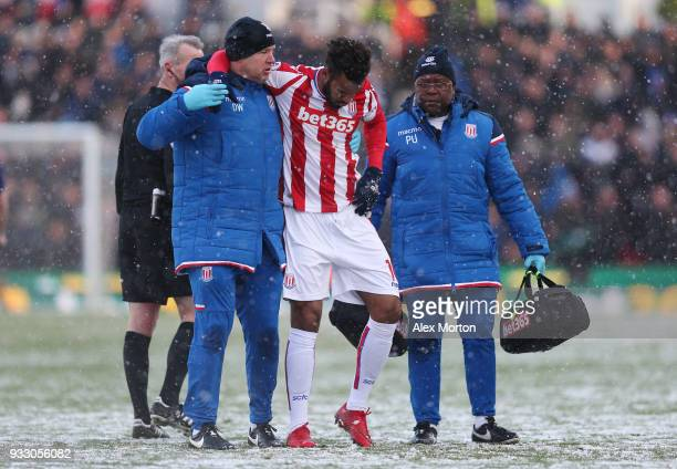 Maxim ChoupoMoting of Stoke City receives treatment from the medical team during the Premier League match between Stoke City and Everton at Bet365...