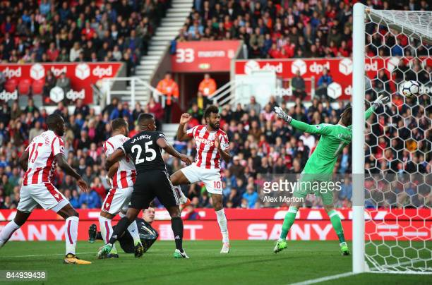 Maxim ChoupoMoting of Stoke City scores his and his side's second goal during the Premier League match between Stoke City and Manchester United at...