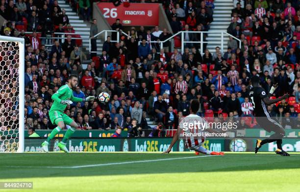 Maxim ChoupoMoting of Stoke City scores his sides first goal during the Premier League match between Stoke City and Manchester United at Bet365...