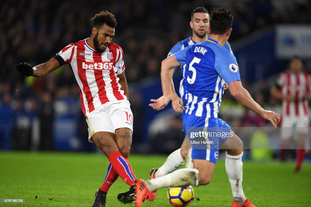 Maxim Choupo-Moting of Stoke City scores his sides first goal during the Premier League match between Brighton and Hove Albion and Stoke City at Amex Stadium on November 20, 2017 in Brighton, England.