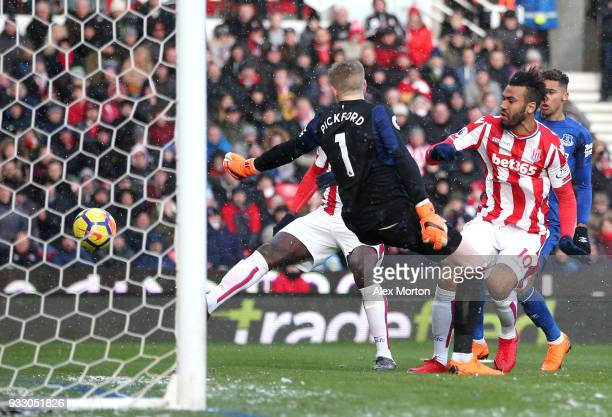 Maxim ChoupoMoting of Stoke City scores his side's first goal during the Premier League match between Stoke City and Everton at Bet365 Stadium on...