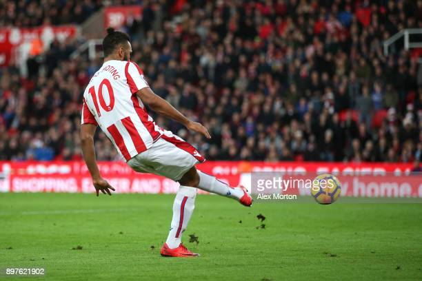 Maxim ChoupoMoting of Stoke City scores his sides second goal during the Premier League match between Stoke City and West Bromwich Albion at Bet365...