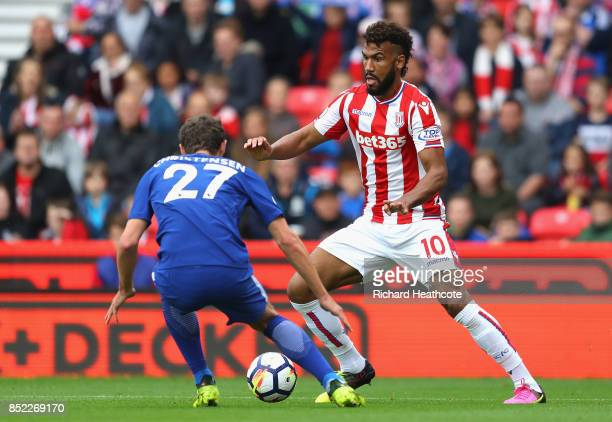 Maxim ChoupoMoting of Stoke City takes on Andreas Christensen of Chelsea during the Premier League match between Stoke City and Chelsea at Bet365...
