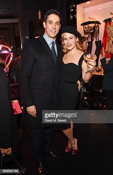 Maxim Crewe and Charlotte Dellal attend an intimate cocktail event hosted at Agent Provocateur Grosvenor Street boutique to celebrate the launch of...