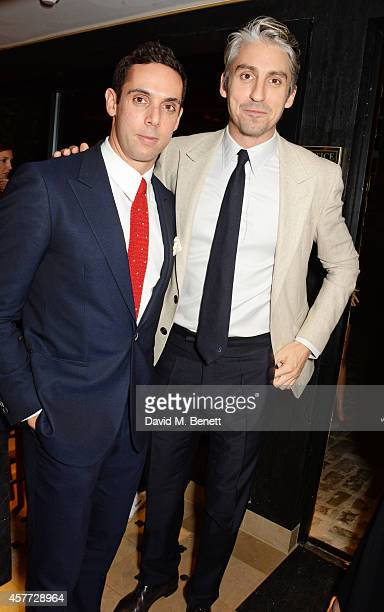 Maxim Crewe and George Lamb attend the Charlotte Olympia 'Handbags for the Leading Lady' launch dinner at Toto's Restaurant on October 23 2014 in...