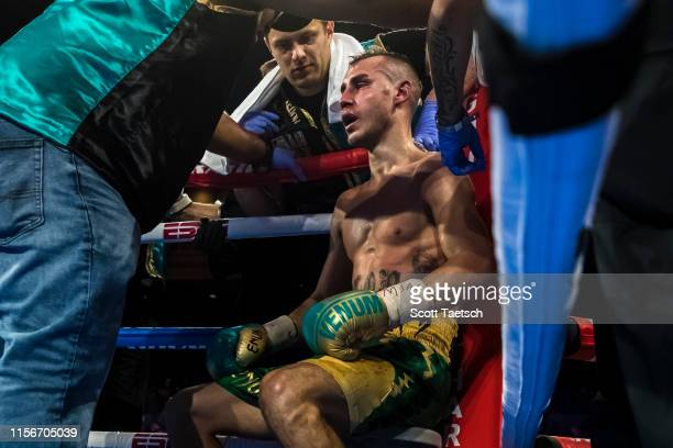 Maxim Dadashev receives attention in his corner after the eleventh round of his junior welterweight IBF World Title Elimination fight against Subriel...