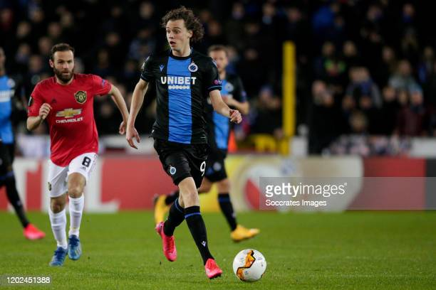 Maxim de Cuyper of Club Brugge during the UEFA Europa League match between Club Brugge v Manchester United at the Jan Breydel Stadium on February 20...