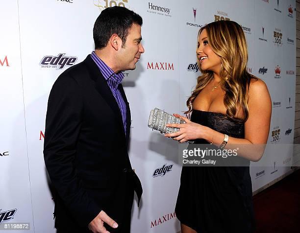 Maxim editorinchief James Kaminsky and actress Amanda Bynes arrive at Maxim's 2008 Hot 100 Party held at Paramount Studios on May 21 2008 in Los...