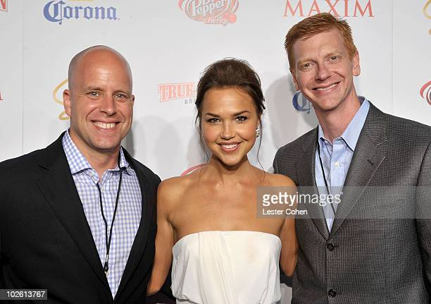Maxim group publisher Ben Madden actress Arielle Kebbel and CEO of Alpha Media Group Stephen Duggan arrive at Maxim's 10th Annual Hot 100 Celebration...