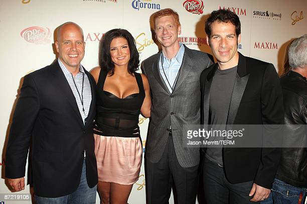 Maxim group publisher Ben Madden martial artist Gina Carano CEO of Alpha Media Group Stephen Duggan and Maxim editor in chief Joe Levy arrive at...