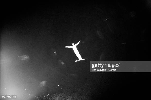 Maxim Gustik of Belarus in action during the Freestyle Skiing Men's Aerials Qualification at Phoenix Snow Park on February17 2018 in PyeongChang...
