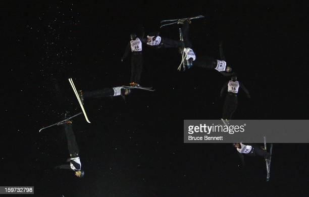 Maxim Gustik of Belarus jumps in the qualification round of the USANA Freestyle World Cup aerial competition at the Lake Placid Olympic Jumping...