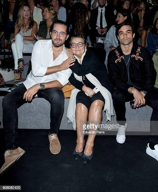 Maxim Huerta Elena Benarroch and Diego Osorio are seen attending MercedesBenz Fashion Week Madrid Spring/Summer 2017 at Ifema on September 16 2016 in...