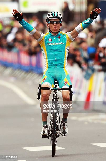 Maxim Iglinskiy of Kazakhstan and Astana celebrates winning the 98th LiegeBastogneLiege cycle road race on April 22 2012 in Liege Belgium