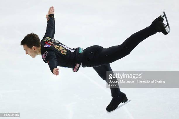 Maxim Kovtun of Russia competes in the Men's Short Program during day two of the World Figure Skating Championships at Hartwall Arena on March 30...