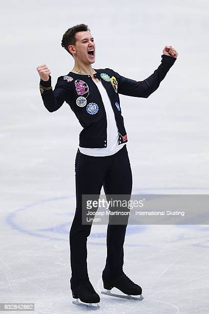 Maxim Kovtun of Russia reacts after competing in the Men's Short Program during day 3 of the European Figure Skating Championships at Ostravar Arena...