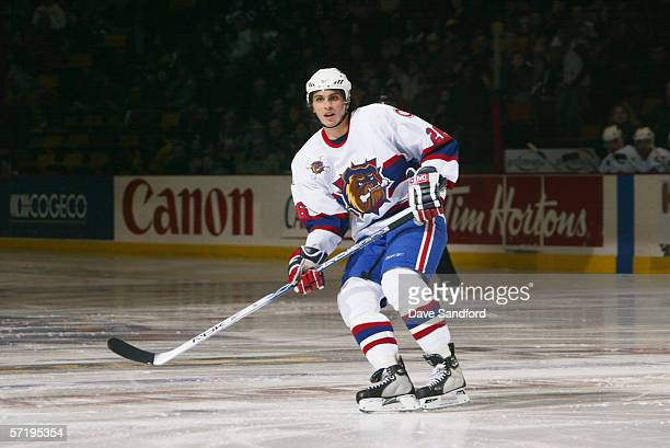 Maxim Lapierre of the Hamilton Bulldogs skates against the Manitoba Moose during the AHL game on January 7 2006 at Copps Colliseum in Hamilton...
