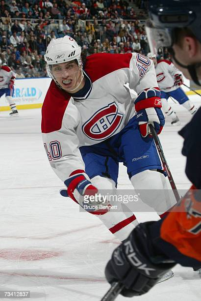 Maxim Lapierre of the Montreal Canadiens runs in action against the New York Islanders on February 24, 2007 at the Nassau Coliseum in Uniondale, New...