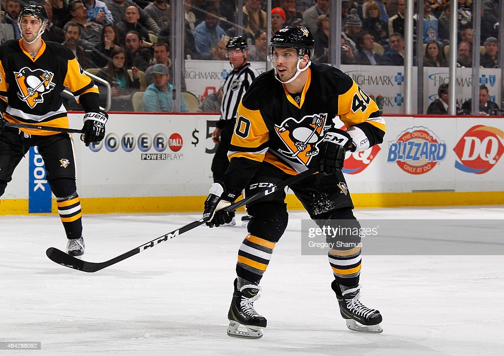 Maxim Lapierre #40 of the Pittsburgh Penguins skates against the Washington Capitals at Consol Energy Center on February 17, 2015 in Pittsburgh, Pennsylvania.