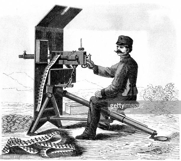 Maxim machine gun c1895 The engineer Hiram Maxim developed the first fully automatic machine gun which he offered to the United States War and Navy...