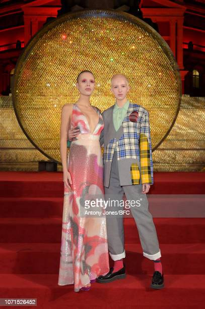 Maxim Magnus and Finn Buchanan arrive at The Fashion Awards 2018 In Partnership With Swarovski at Royal Albert Hall on December 10 2018 in London...