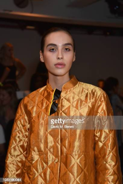 Maxim Magnus attends the Matty Bovan front row during London Fashion Week September 2018 at the BFC Show Space on September 14 2018 in London England