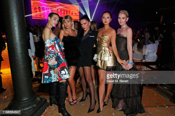 Maxim Magnus Xenia Adonts Evangelie Smyrniotaki Betty Bachz and Lady Kitty Spencer attend the Bvlgari Serpenti Seduttori launch at the Roundhouse on...