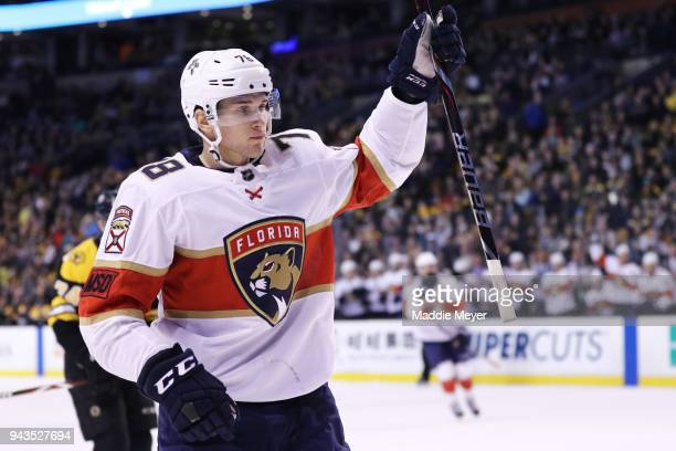 Maxim Mamin of the Florida Panthers celebrates after scoring a goal against the Boston Bruins during the second period at TD Garden on April 8 2018...